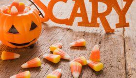 Candy corn (Halloween sweets, USA), pumpkin lantern