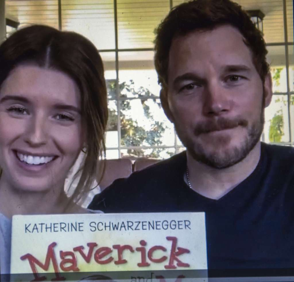 Katherine Schwarzenegger and Chris Pratt reading